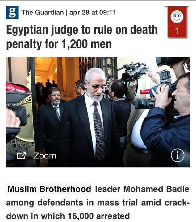 Más de 1, 200 hombres enfrentan la pena de muerte en Egipto