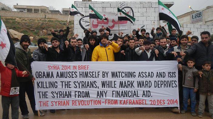 Obama se divierte viendo a Al-Assad e EISI  matando a los sirios, mientras que Mark Ward, priva al sirio  de algún apoyo financiero.