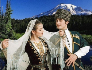 North Caucasus people Chechnya chechen men  traditional costume nakh Vainakh